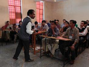 Photo: I ask Dr. Mahapatra a question...
