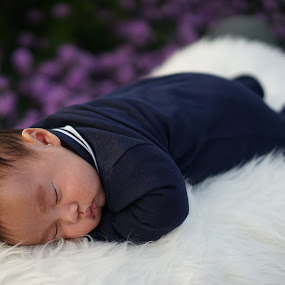Sleeping baby on papa by Billy C S Wong - Babies & Children Babies ( sleeping baby, purple, fur, sleeping, baby,  )