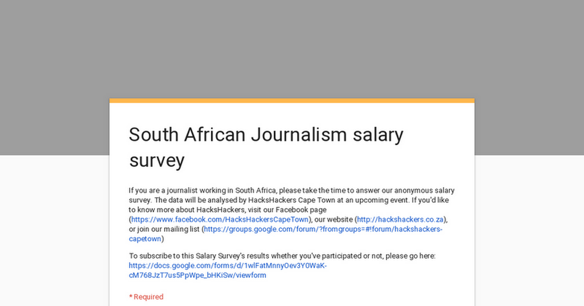 South African Journalism salary survey