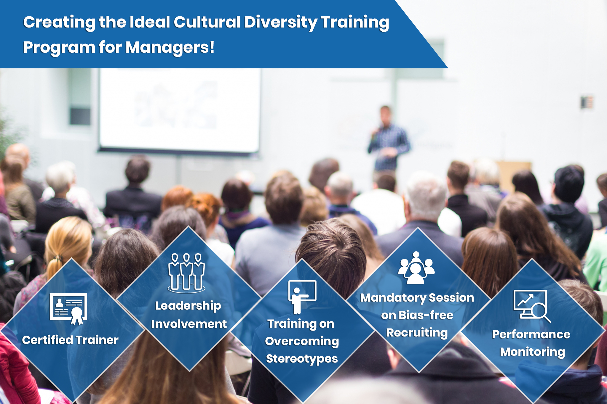Slide for training managers to increase diversity in the workplace