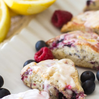 Mixed Berry Scones with a Lemon Glaze.
