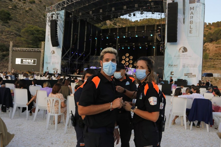 La seguridad estuvo presente durante todo el evento para controlar el cumplimiento de las medidas