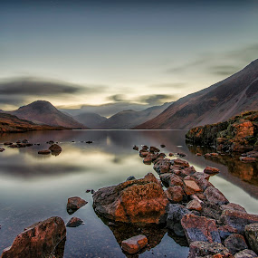 Wastwater at dawn by Graham Kidd - Landscapes Waterscapes ( water, long exposure, rocks )