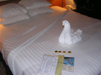 A towel animal left to surprise a guest