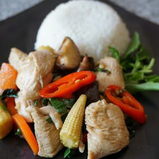 Spicy Thai Basil Chicken.