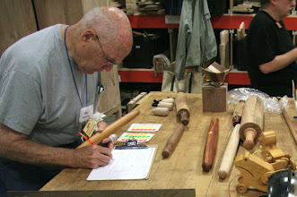 Photo: Bob Browning signs in his French rolling pin for Show & Tell.