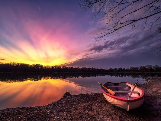 Tramonto sul lago di alagnol
