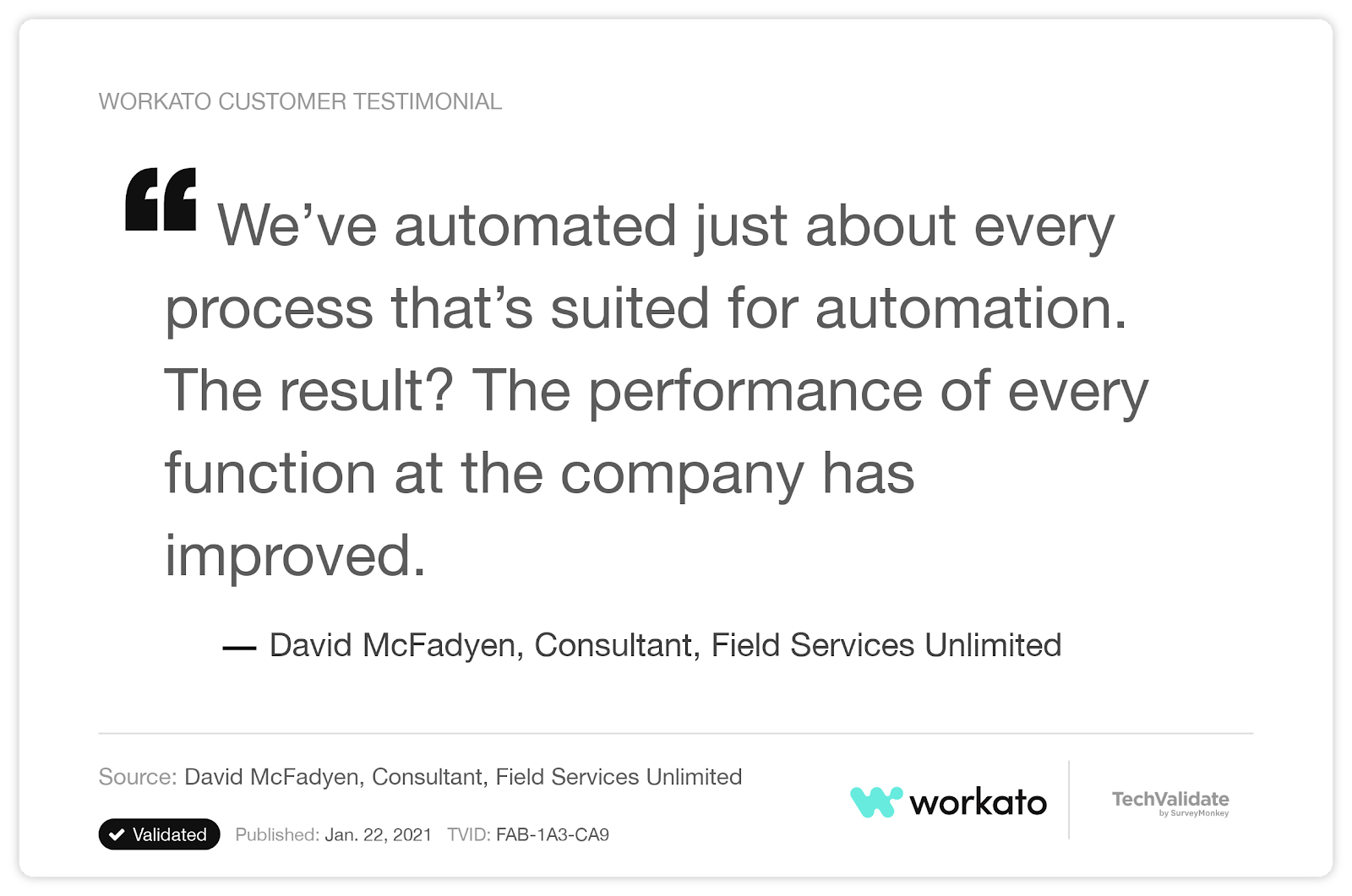 A customer testimonial that cites Workato's versatility as a platform