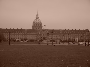 Photo: Les Invalides, with the golden dome of Napoleon's burial place in the background.