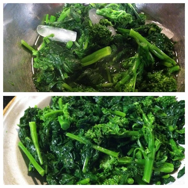 I BLANCH MY BROCCOLI RABE IN BOILN WATER FOR THREE MINUTES TO RID SOME...