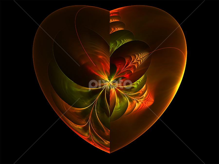 Heart yellow by Cassy 67 - Illustration Abstract & Patterns ( heart, digital art, fractal, digital, fractals, floral, flower )