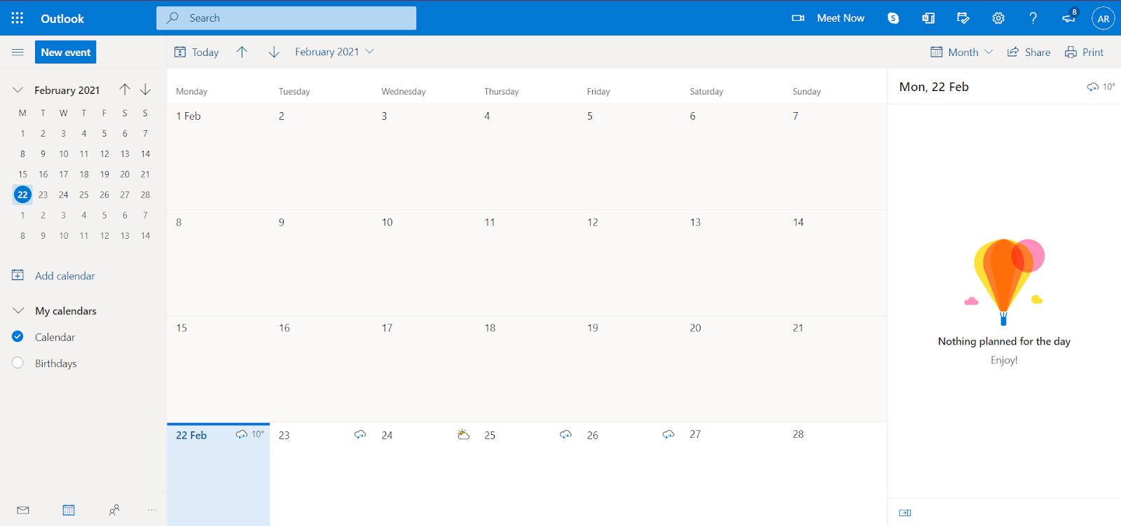 Create a new calendar in outlook