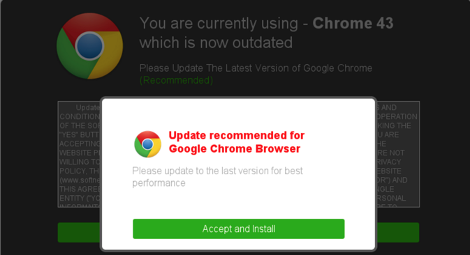 Example of social engineering attempt claiming a browser update is required