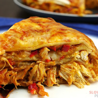 Layered Slow Cooker Chicken Enchiladas.