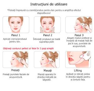 Aparat antirid pentru masaj facial cu vibratii ionice