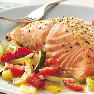 Basil Salmon and Julienne Vegetables (Gluten Free).