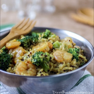 Shrimp and Broccoli Curry with Quinoa and Brown Rice