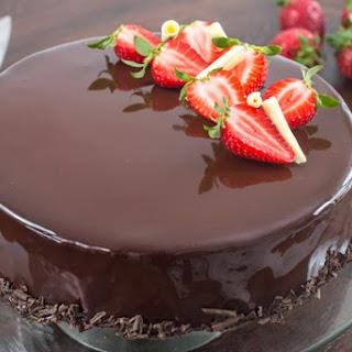 Strawberry Chocolate Mirror Cake.