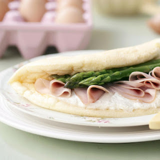 Fluffy Ham and Asparagus Omelette.