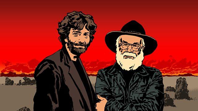 """Puedes escuchar en inglés """"Good Omens"""" dramatizada con actores en la BBC Radio 4. La ilustración de Terry  Pratchett y Neil Gaiman ha sido realizada por Sean Phillips."""