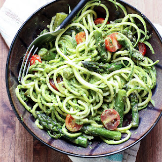 Sauteed Asparagus with Zucchini Noodles & Spinach Pesto Recipe