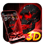 Neon Tech Skull 3D Theme Icon