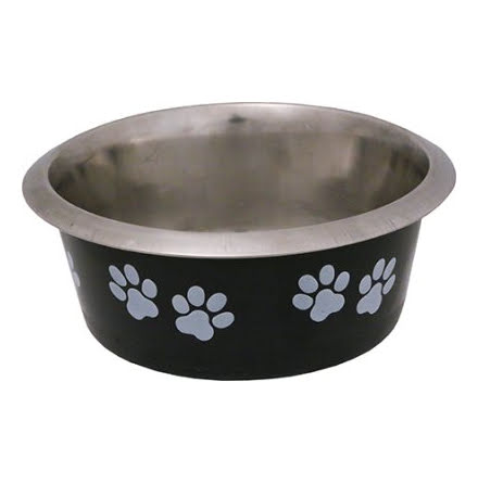 Hundskål Rostfri Hybrid Svart med Vita Tassar 430ml