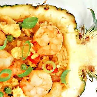 Pinneapple Fried Rice with Shrimps.