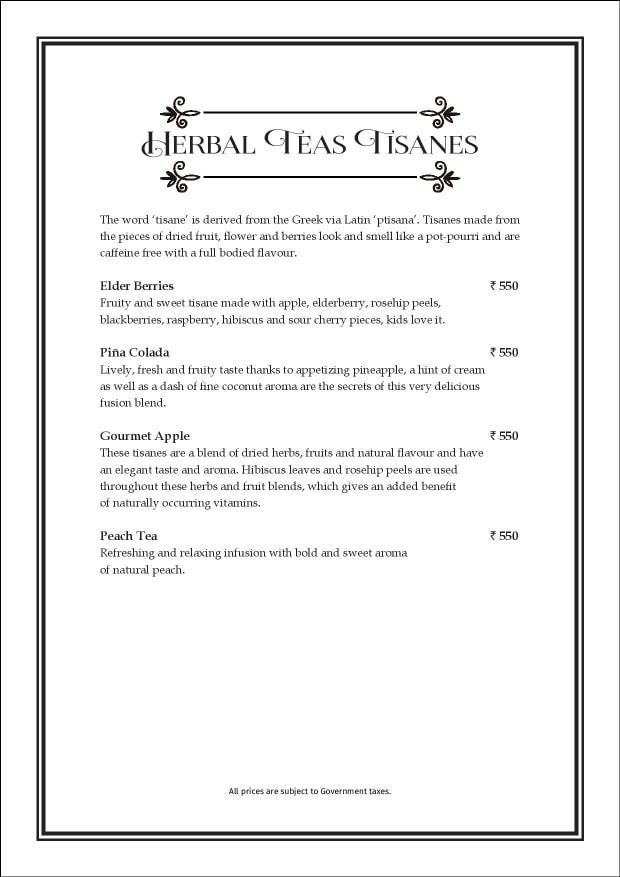 Sea Lounge - The Taj Mahal Palace menu 12