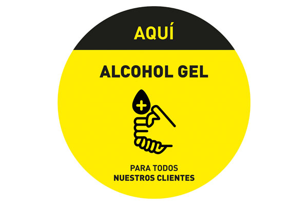 Adhesivo Alcohol gel 20 cm de diametro