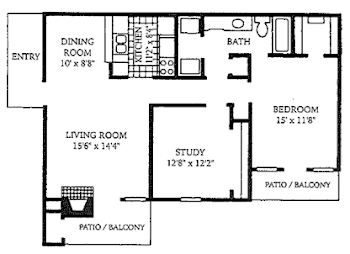 Go to Two Bed, One Bath B1 Floorplan page.
