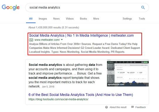 exemplo de resultado pago (não orgânico) nos motores de busca