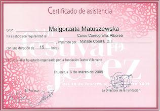 Photo: 2009r. kurs tańca choreografia w stylu Alborea prof. Matilde Coral; poziom średniozaawansowany (15 godzin); XIII Festival de Jerez