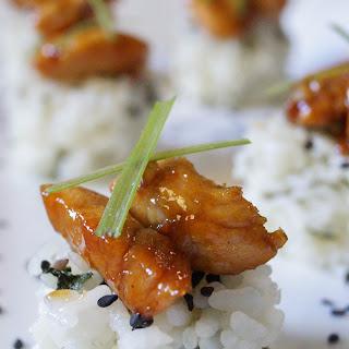 Garlic Chicken with Bok Choy Rice Cakes.