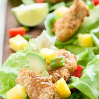 Cashew Coconut Crusted Chicken Lettuce Wraps with Ancho Honey Mustard Sauce.