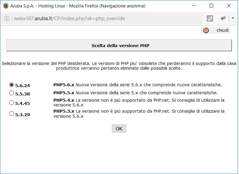 Aruba versione PHP