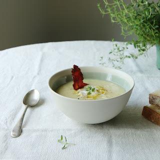 White Asparagus Veloute + Thyme Oil + Smoked Pancetta