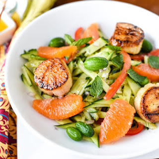 CUCUMBER SALAD WITH SCALLOPS.