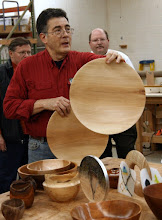 Photo: Clif Poodry created two large sycamore platters with subtle grain character.