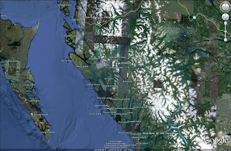 Photo: A closer view of the area.  We traveled along the inside passage, taking nine days in all.