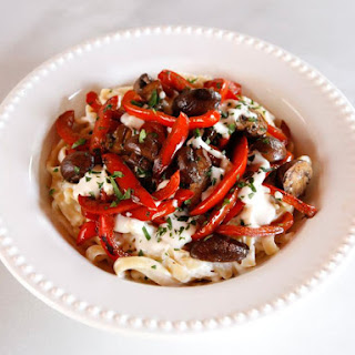 Mushroom Pepper Pasta with Feta Goat Cheese Sauce.