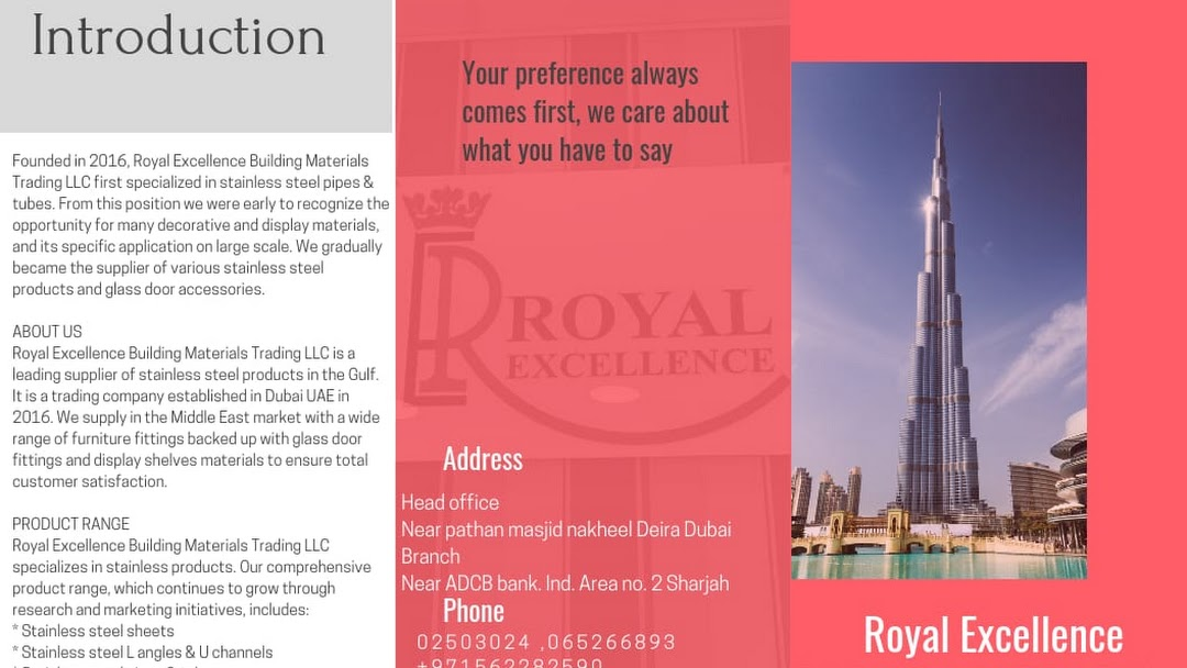 Royal Excellence Building Materials Trading LLC - Hardware Store