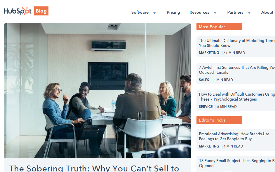 HubSpotBlog - Marketing Strategy example