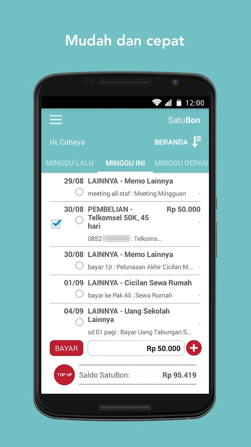SatuBon - Dompet Elektronik Plus Pengingat- screenshot