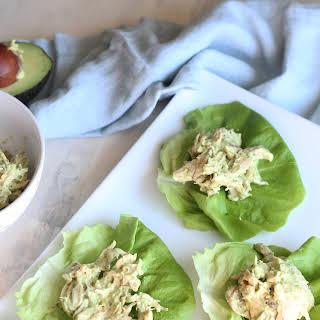 Avocado Chicken Salad Lettuce Wraps.