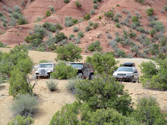 Three handsome Jeeps awaiting our return