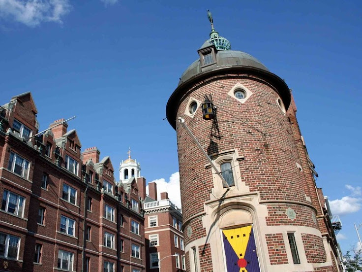 Note the eyes, nose, mouth and hat of the Harvard Lampoon headquarters.
