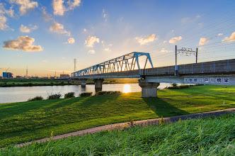 Photo: A bridge for trains crossing the Edo River from Matsudo.