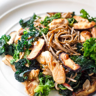 Buckwheat Soba Noodles, Chicken, Kale & Miso Dressing.