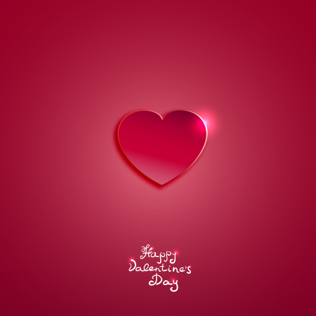 pink paper heart for Valentines day card Illustration